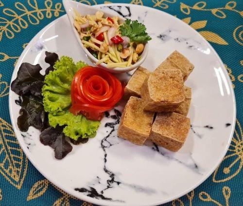 Fried Tofu with Spicy Mango Salad